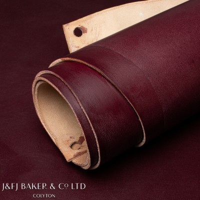 J&FJ BAKER FULL WAX ENGLISH BRIDLE SHOULDER - BURGUNDY - 2.5/3.0mm